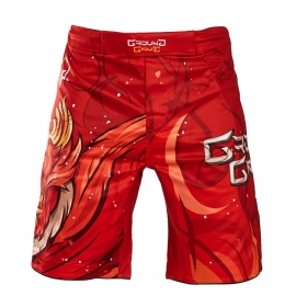 MMA Shorts Ground Game Vermilion Birds